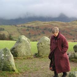 Mom at a stone circle in the Lake District, England 2005