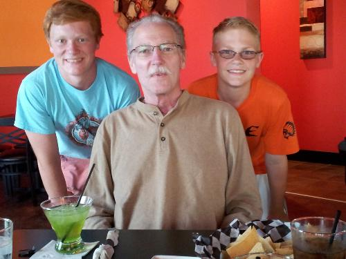 "Steve with his 2 oldest gransdons (Tyler and Gavin) at ""Tequilarita's"" - a Mexican restaurant in Milford."