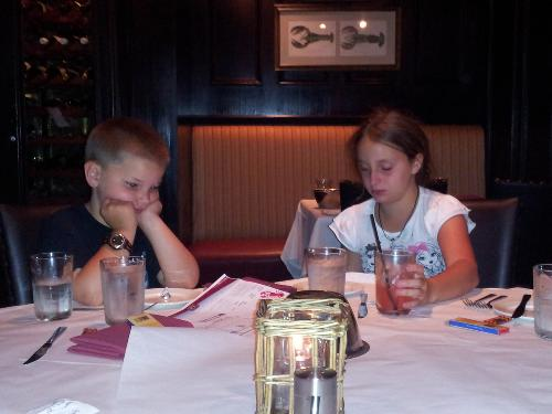 Kyle and Gabby  excited to be at Fulton's Crab House for a great dinner!