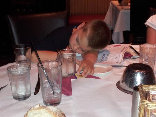 Kyle. . .wake up. . . you can't read the menu if your eyes are closed. Oh well. . . just let him sleep.