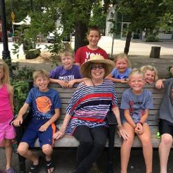 With 8 of my 9 grandchildren this past Sunday at a park. No. 1 is harvesting with his dad and uncles.