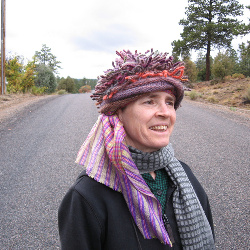 "2018.10.10 taking a walk in Durango CO with the dreads/""Medusa"" hat made for me by ABQ friend Danielle Books"