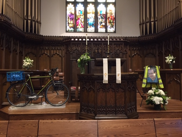 Michael's bike at the memorial service (Isaiah rode it to the church)