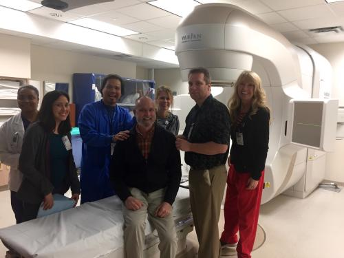 Dad with his radiation team
