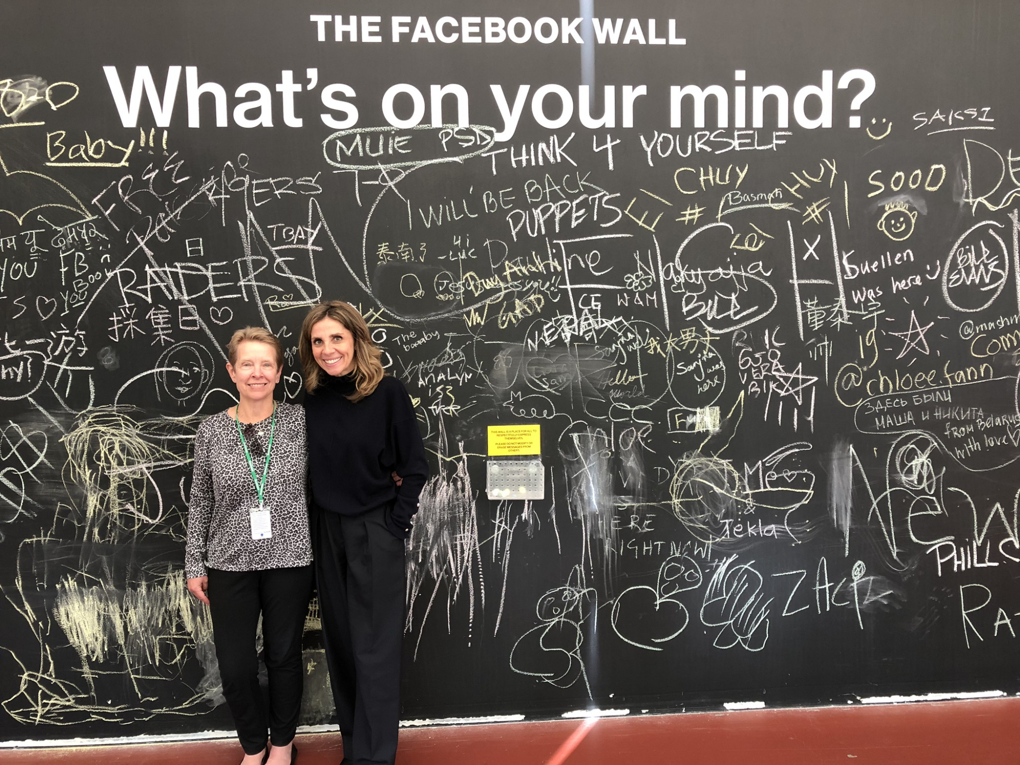 In front of the Facebook wall with Lady Nicola Mendelsohn
