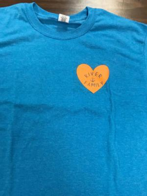 The front of the T Shirt represents the river family who rallied to help.