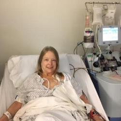 June 20, 2018.  Hooked up to the apheresis machine harvesting my T cells, My blood is removed thru one line of the catheter. The product is spun and the T cells are removed, then the remaining blood product is returned to my body via the other catheter.