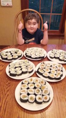 Samuel, the sushi chef!  He helped me make 96 pieces of sushi for the family.