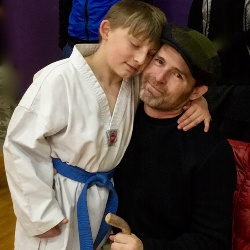 Jaxx had a big surprise for Scott last Saturday.  He practiced a special Tae Kwan Do routine, and got to perform it solo at his belt testing event.  Dad was super proud!!