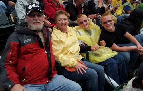 Steve, Meg, Gavin & Tyler at Tigers game last year. (2 of Steve's grandsons.)