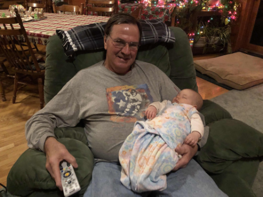 Newest grand daughter Raya makes first visit to Eagle River!
