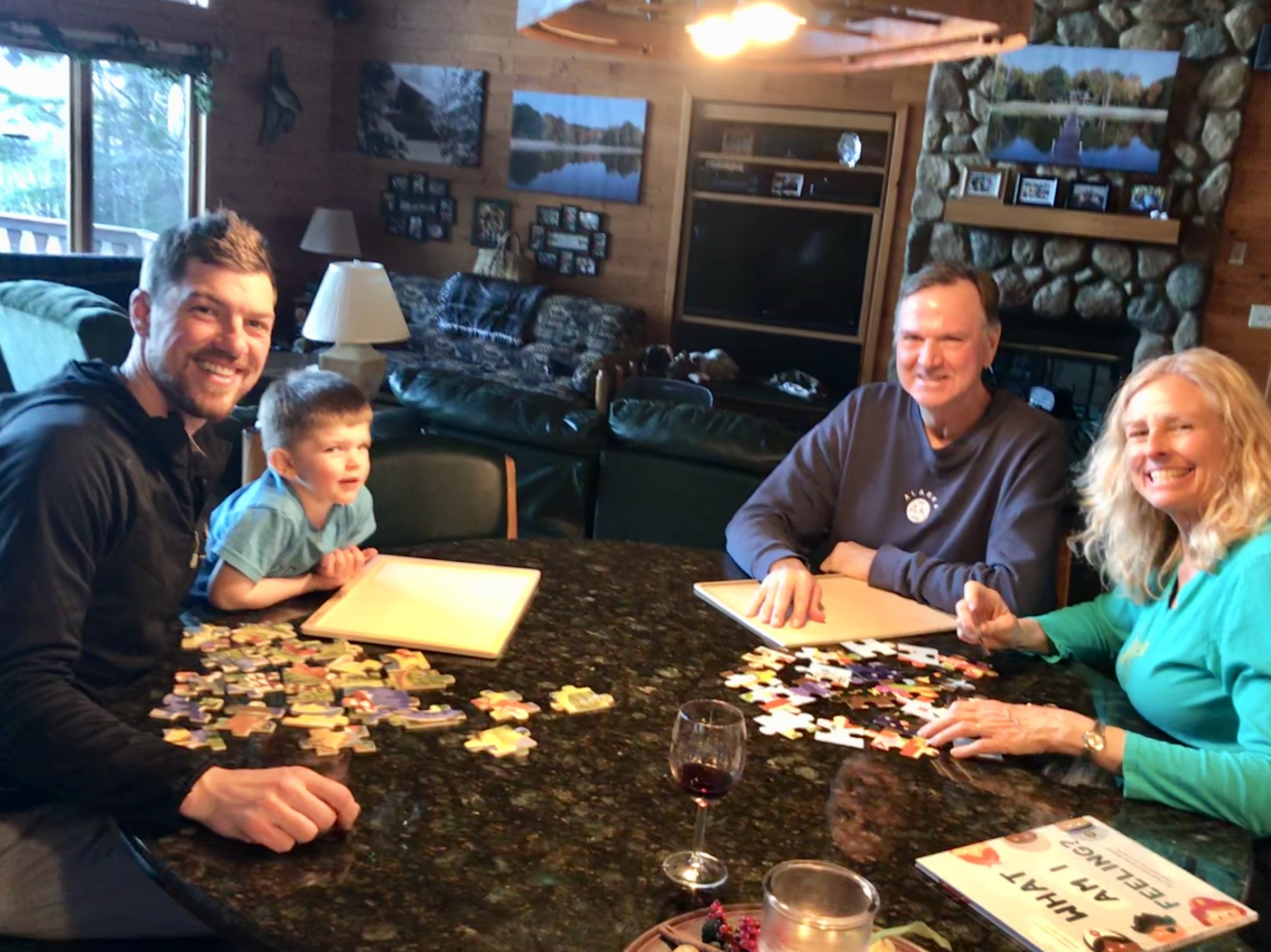 Colden races Papa and Nana with puzzles