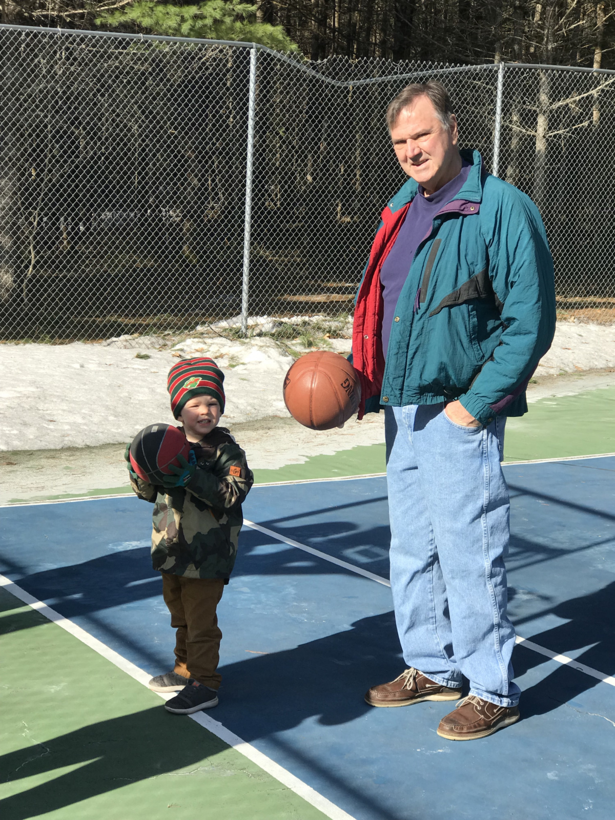 Grandson Colden learns basketball from Papa