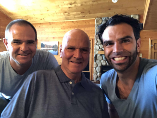 Jeff & Jon support their dad!  Jon shaves his head in support of Chuck after brain radiation..