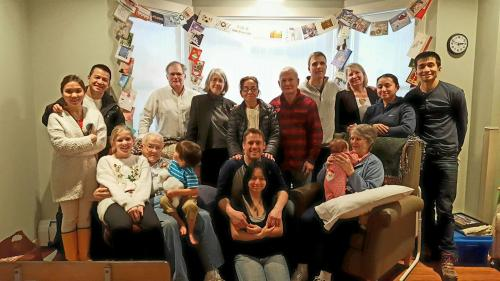 Ide/Le/Vietje family in Betty's room at Woodridge Nursing Home on Christmas Day 2016.  Back row: Juno & Quang Le, Brad & Linda Vietje, Thu & Hung Le, David & Susan Ide, Laura & Davis Le. Front Row: Clara Ide & Chase Vietje sitting on Grampa Phil Ide, Phil and Phuong Vietje kneeling, and Gramma Ide smiling at baby Colt Vietje.