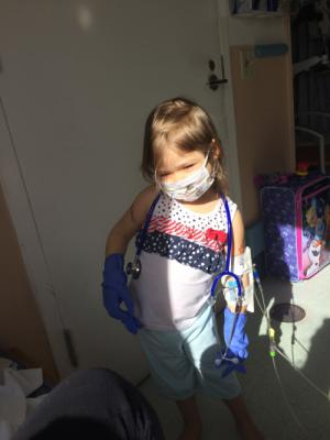 The masks make her feel better... Like all the docs and nurses.