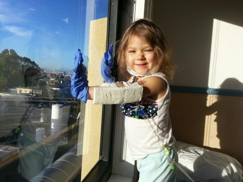 Maya makes up fun games and stories to keep her wild imagination engaged. Watching Bart trains, helicopters & downtown. Eating well and learning to take needles like a champ!