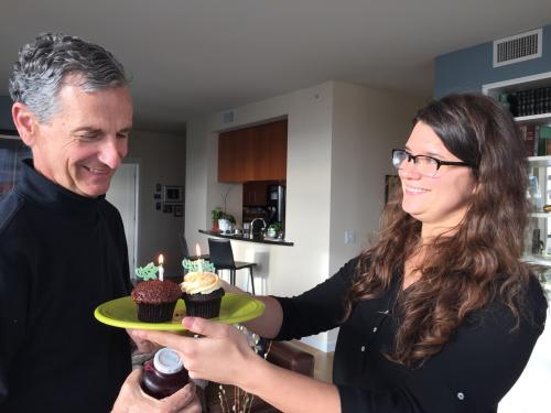 Elie surprises John with day early birthday cupcakes