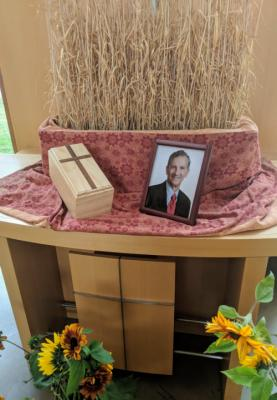 The altar at John's Memorial Service with his last wheat crop