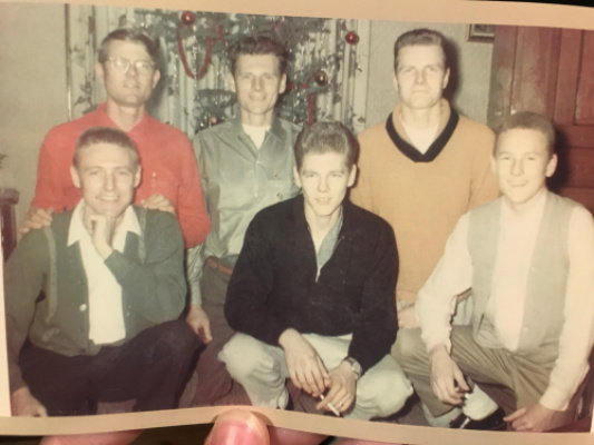 "Dad with his brothers.  Back row from left to right : Vince, Jim, Luke. Bottoms row left to right: Paul, Tony, Mike (Rosie told him ""he's the most handsome out of his brothers and I'm stickin with it"" !"
