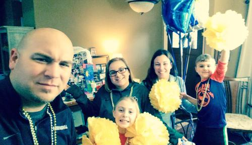 Celebrating his last chemo treatment, 1-3-17