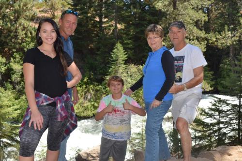 Granddaughter Katelyn, son Scott, grandson Aiden, Fred and I in Oregon, August, 2016.