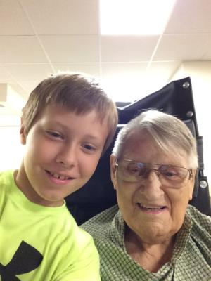 August 13 -  Mitchell and Grandpa Ludwig.