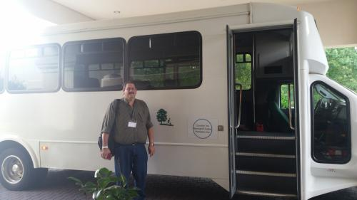 Bob in front of the CTCA shuttle bus