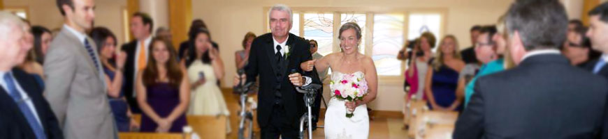 Caitlin and her dad on her wedding day after his Guillian-Barré Syndrome diagnosis and recovery work.