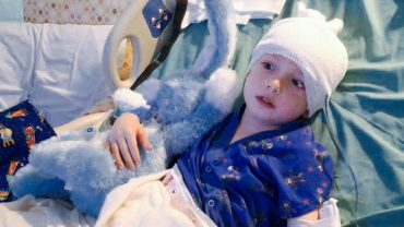 "Gavin Pierson recuperates after surgery to stop ""Joe Bully,"" the Intracranial Growing Teratoma Syndrome,growing in his brain."