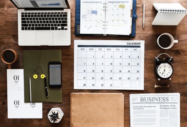 organization planner computer and calendar